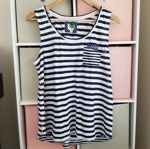 Anthropologie Blue Striped Tank Top